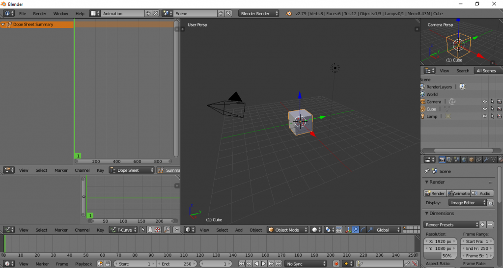 Animation layout Blender