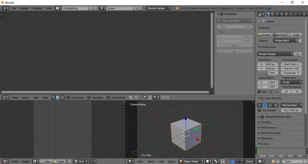Compositing layout Blender