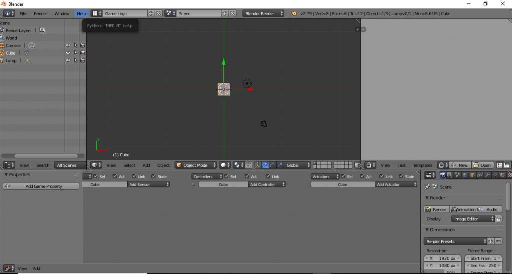 Game Logic layout blender
