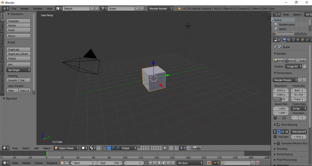 Default layout Blender