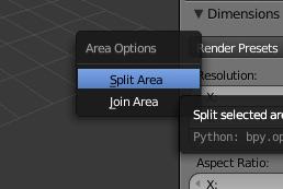 Opciones Split area o Join Area