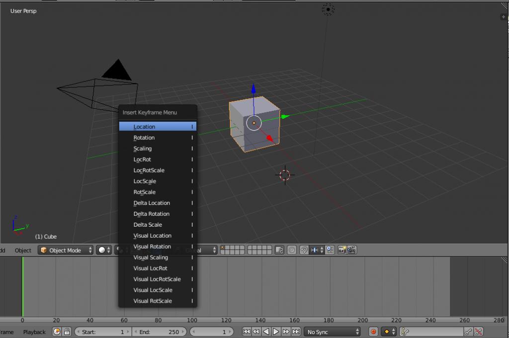 Animación en Blender, tecla I