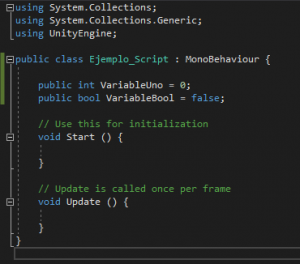 Codigo de variables publicas Unity
