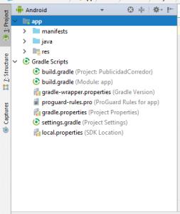Vista Android de los archivos