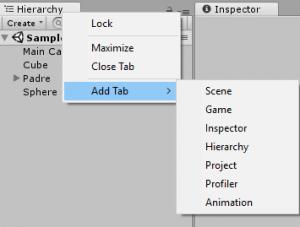 Añadir ventana unity, add tab