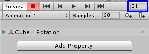 Frame de animación, Unity