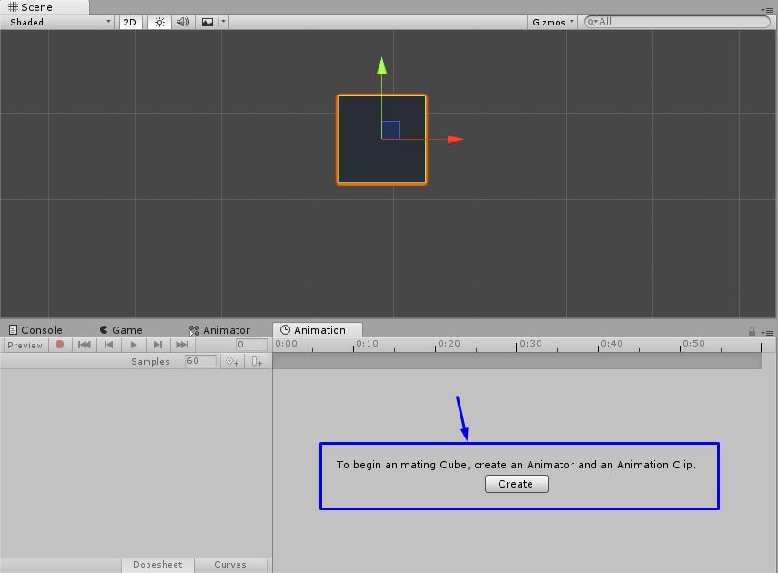 Crear animación, Unity