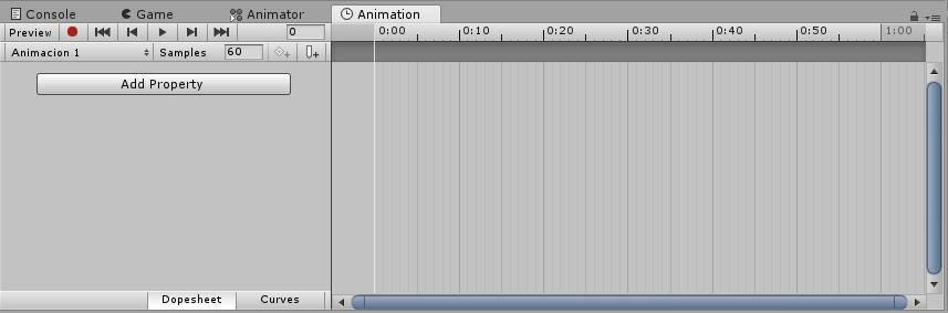 Ventana de animación, Unity