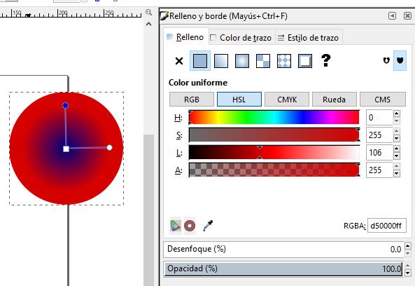 Degradado radial color, Inkscape