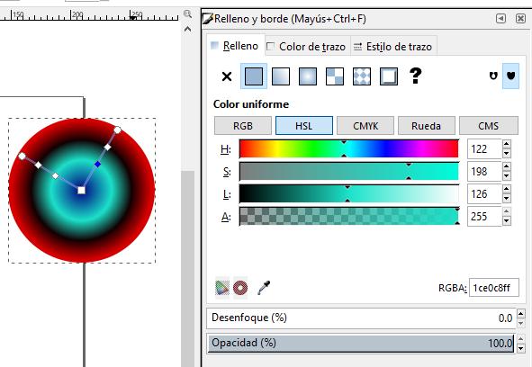 Degradado radial multiple color, Inkscape