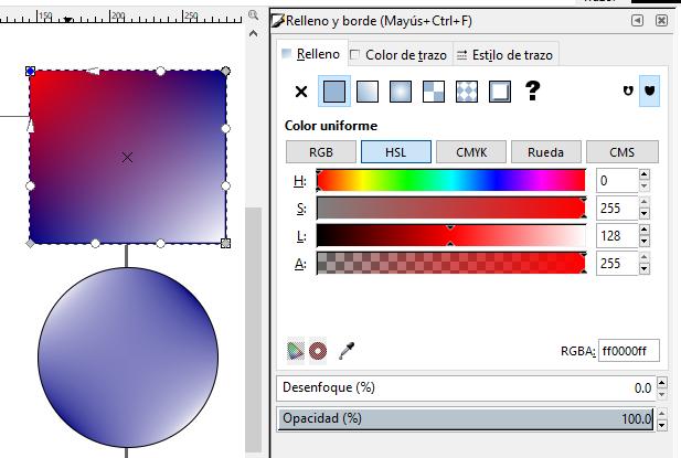 Cambiar color degradado rejilla, Inkscape