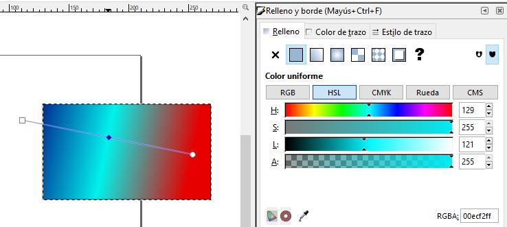 Degradado 3 colores, Inkscape