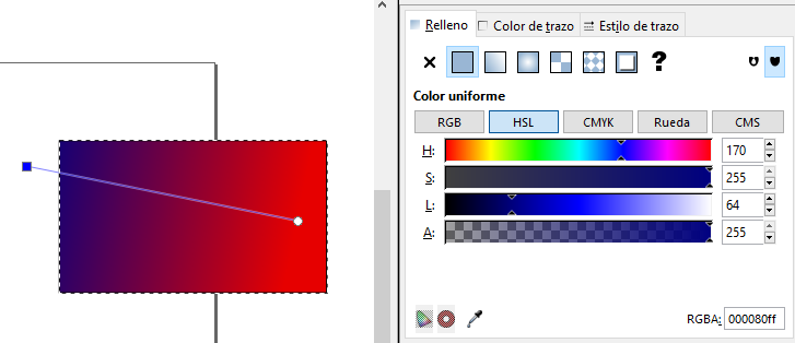 Editando degradado, Inkscape