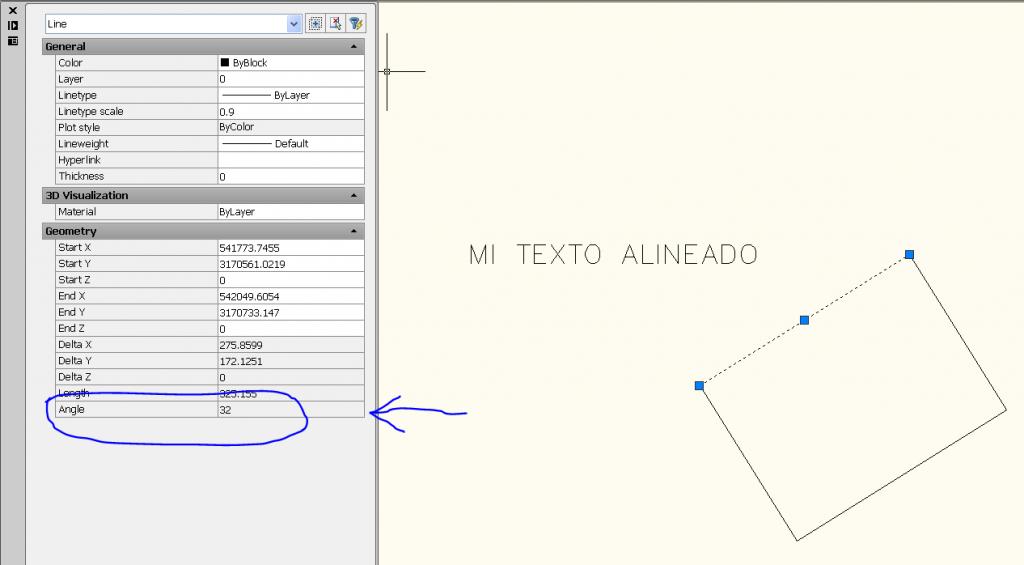 Alinear rotación texto autocad