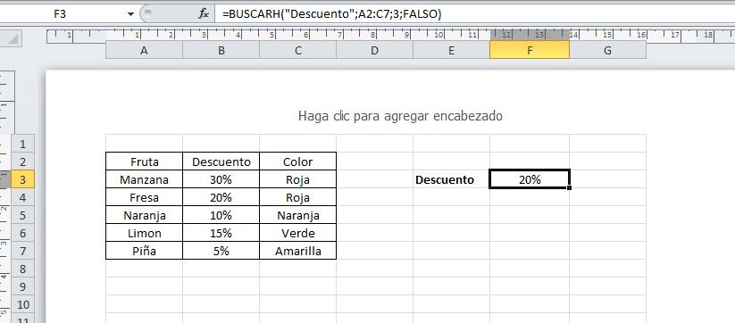BUSCARH, en Excel