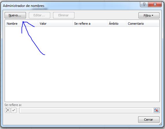 Administrador de nombres, Excel