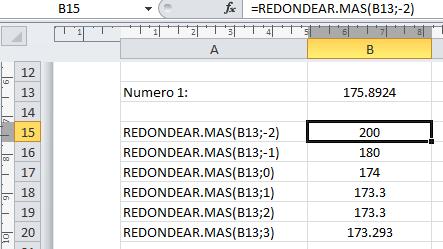 Excel redondear números