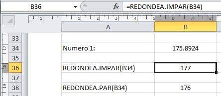 Excel redondear números pares impares