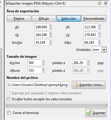 Exportar imagen PNG Inkscape