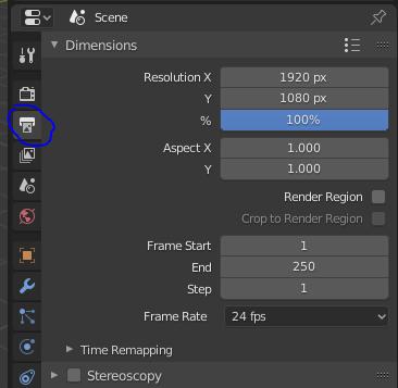 Exportar vídeo, resolución blender