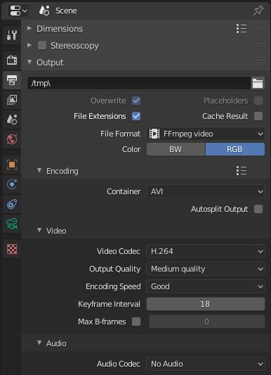 Exportar vídeo en Blender