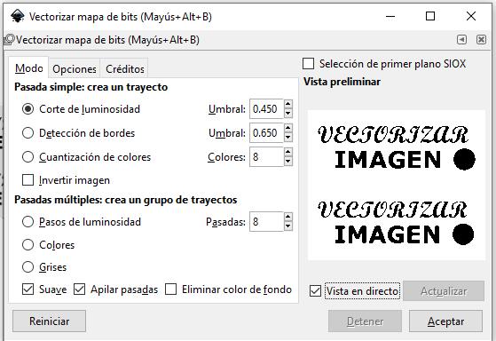 Vetorizar mapa de bits, Inkscape