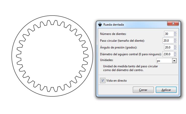 Engrane interior en Inkscape