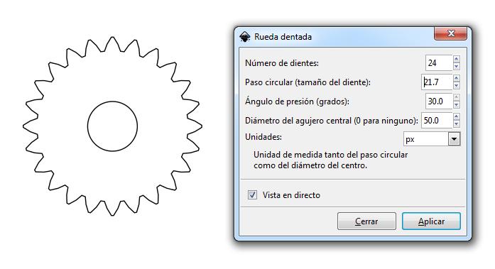 Engrane puntiagudo en Inkscape