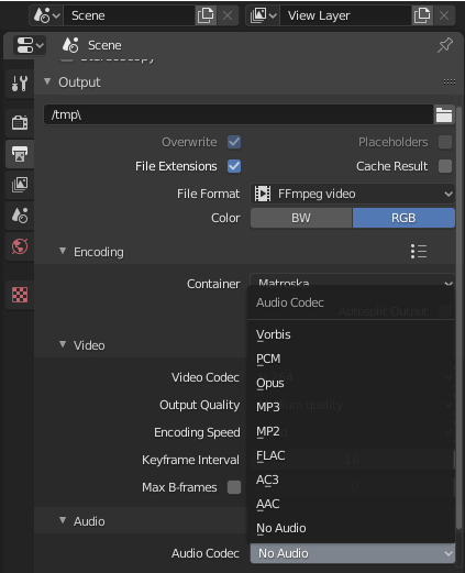 Exportando Vídeo y audio Blender