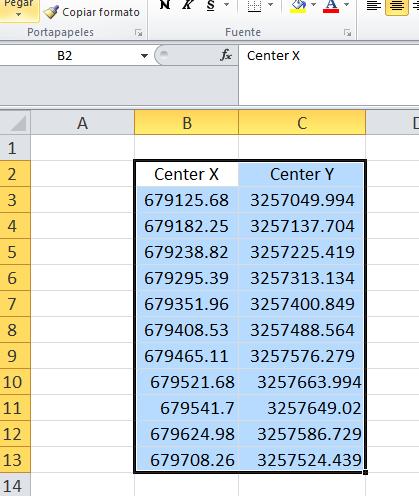 Exportar coordenadas de Autocad a Excel
