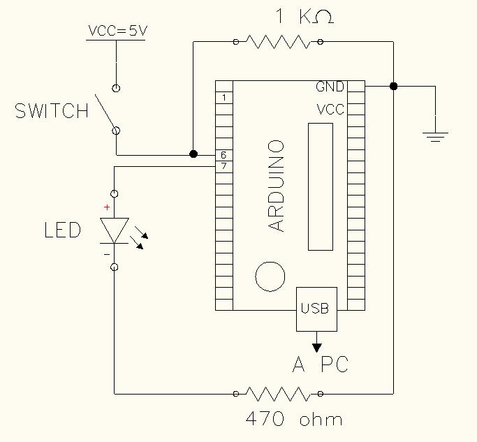Arduino diagrama prender y apagar LED