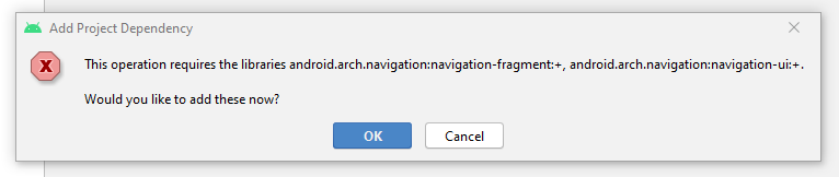 Library navgation fragment, error