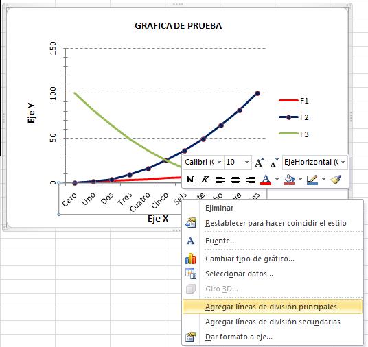 Editar gráfica Excel, agregar líneas división