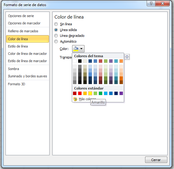 Editar color gráfica Excel