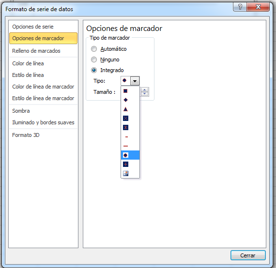 Editar marcador gráfica Excel