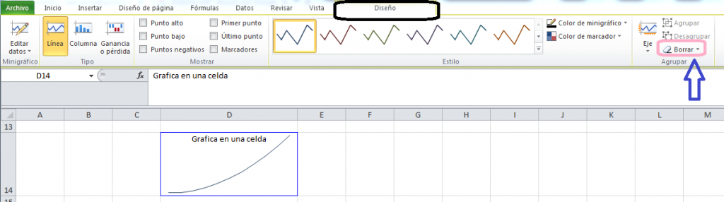 Eliminar, Borrar Grafica Excel