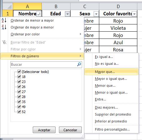 Filtro Excel
