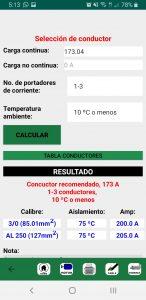Amperaje conductor app
