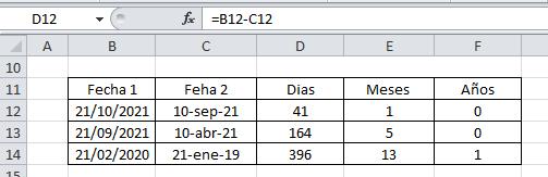 Restar fechas Excel