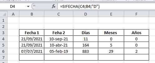 SIFECHA Excel