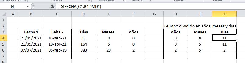 Restar fecha Excel