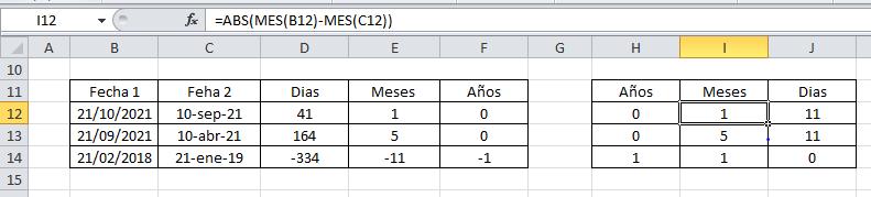 Restar fechas en Excel